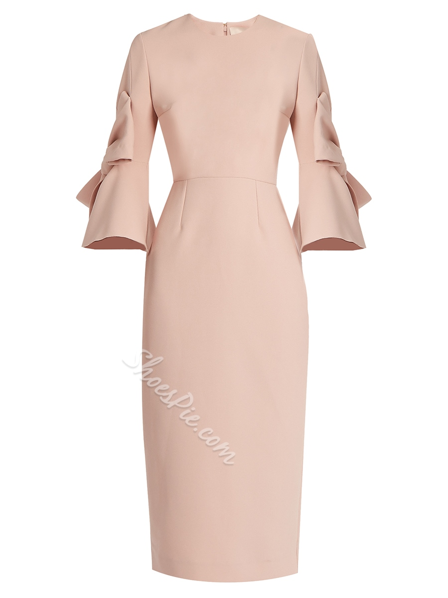 Shoespie Round Neck Flare Sleeves Bodycon Dress