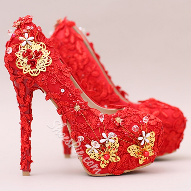 Shoespie Red Flower & Butterfly Appliqued Platform Bridal Shoes
