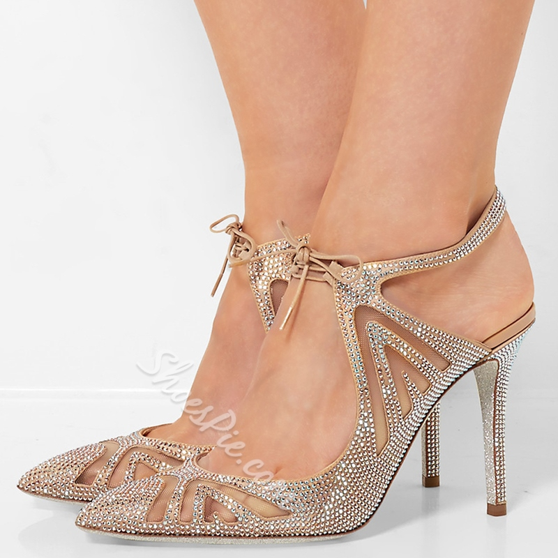 Shoespie Pointed Toe Lace-Up Rhinestone Sandals