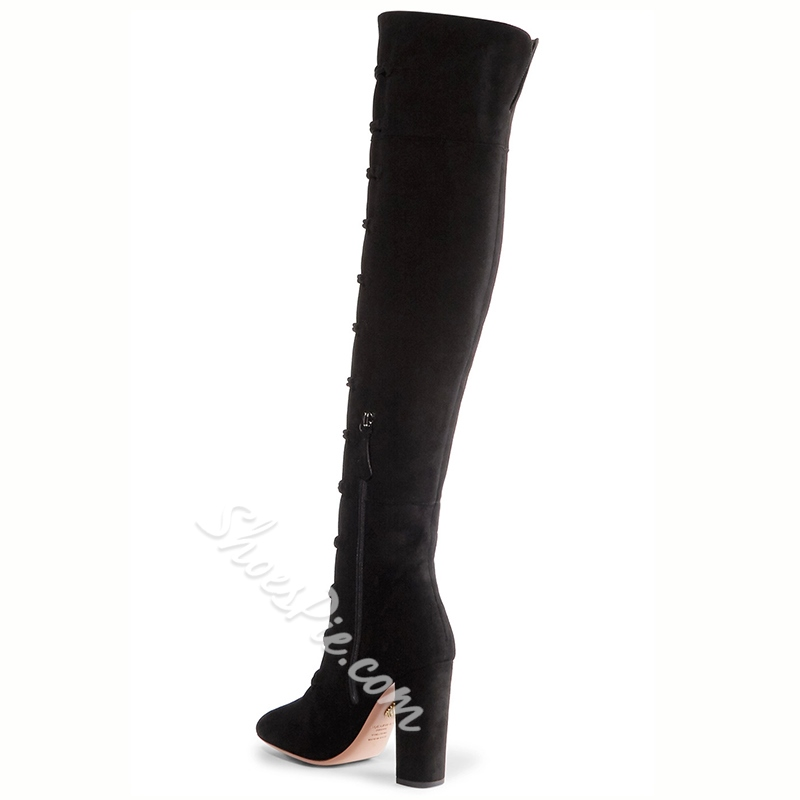Shoespie Gorgeous Button Hoop Chunky Heel Knee High Boots