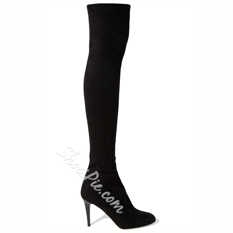 Shoespie Suede Black Stretch Knee High Stiletto Boots