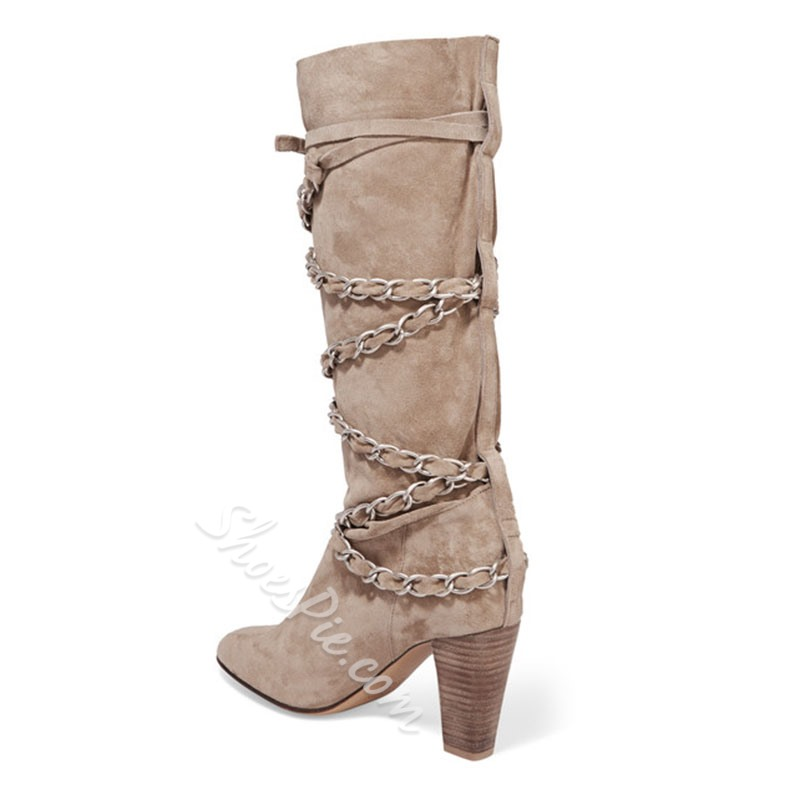 Shoespie Decent Chain Embellished Chunky Heel Mid Calf Boots