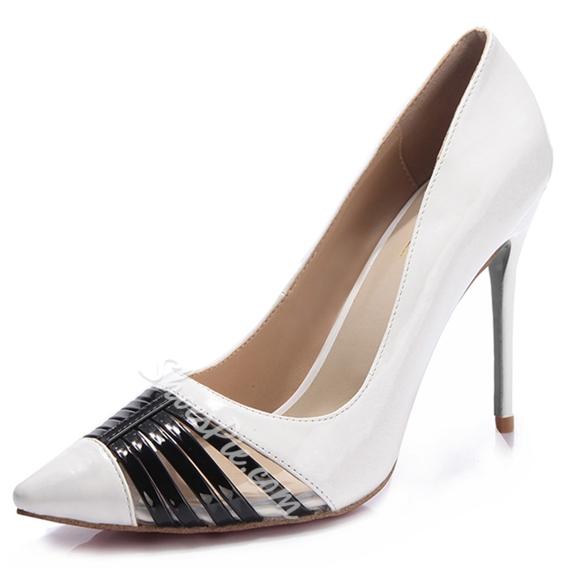 Shoespie Chic White Patchwork Stiletto Heel Court Shoes