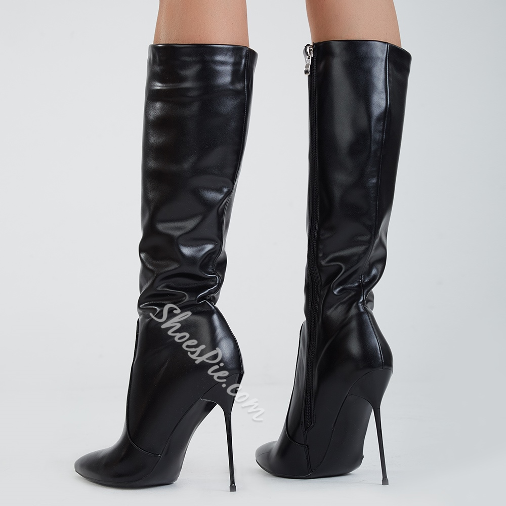 e2addc49899 Shoespie Stylish Black Pointed Toe Stiletto Heel Knee High Boots