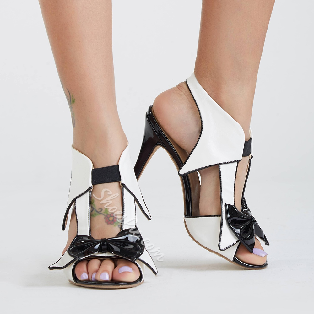 Shoespie Unique Black and White Bowtie Dress Sandals