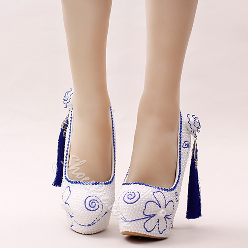 Shoespie Two Tone Blue Fringe Platform Bridal Shoes