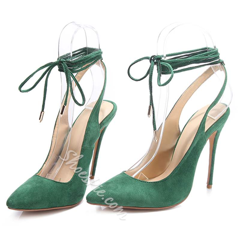 Shoespie Green Slingback Lace Up Stiletto Heels