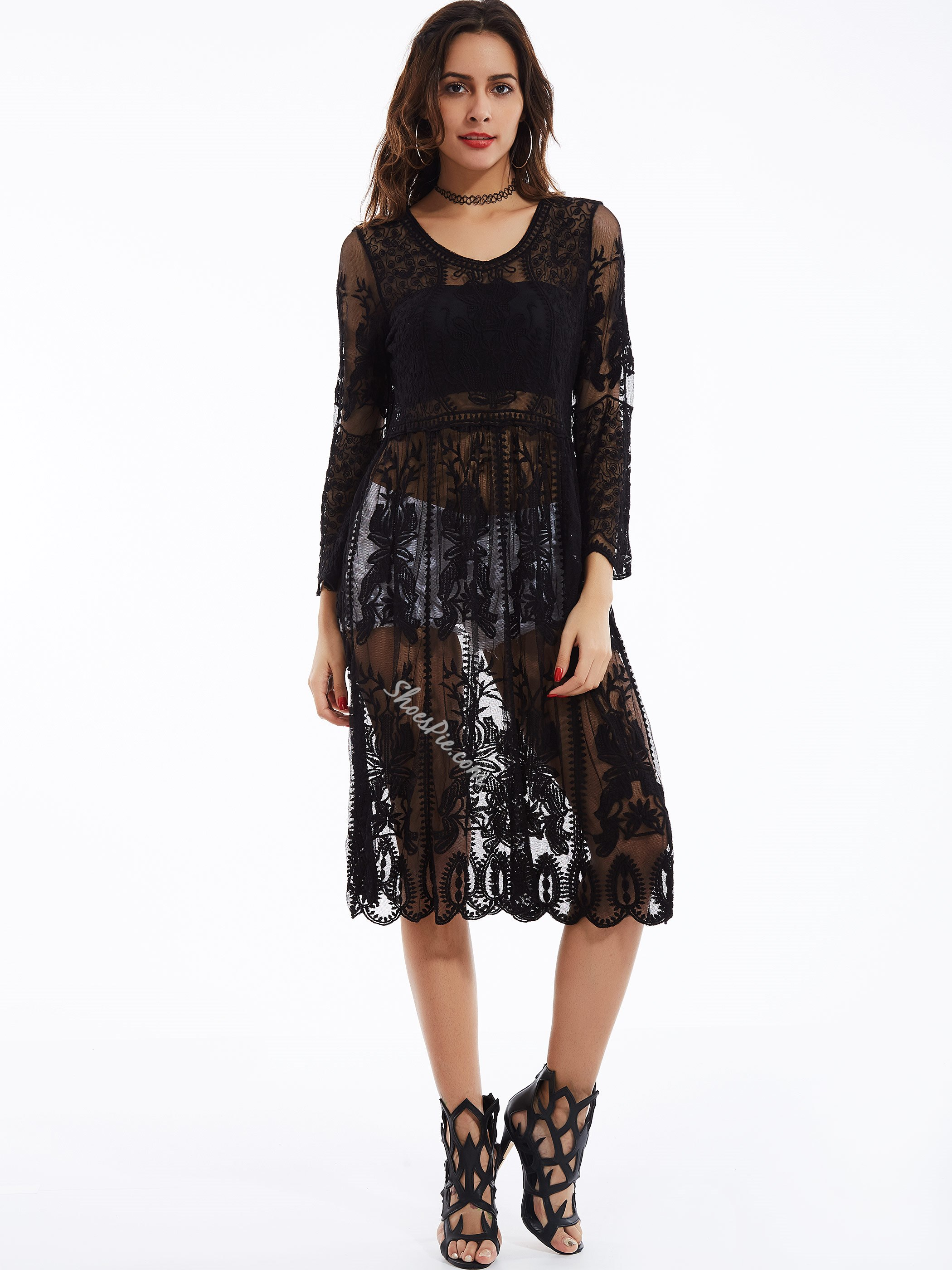 See-Through Round Neck Flare Sleeves Lace Dress