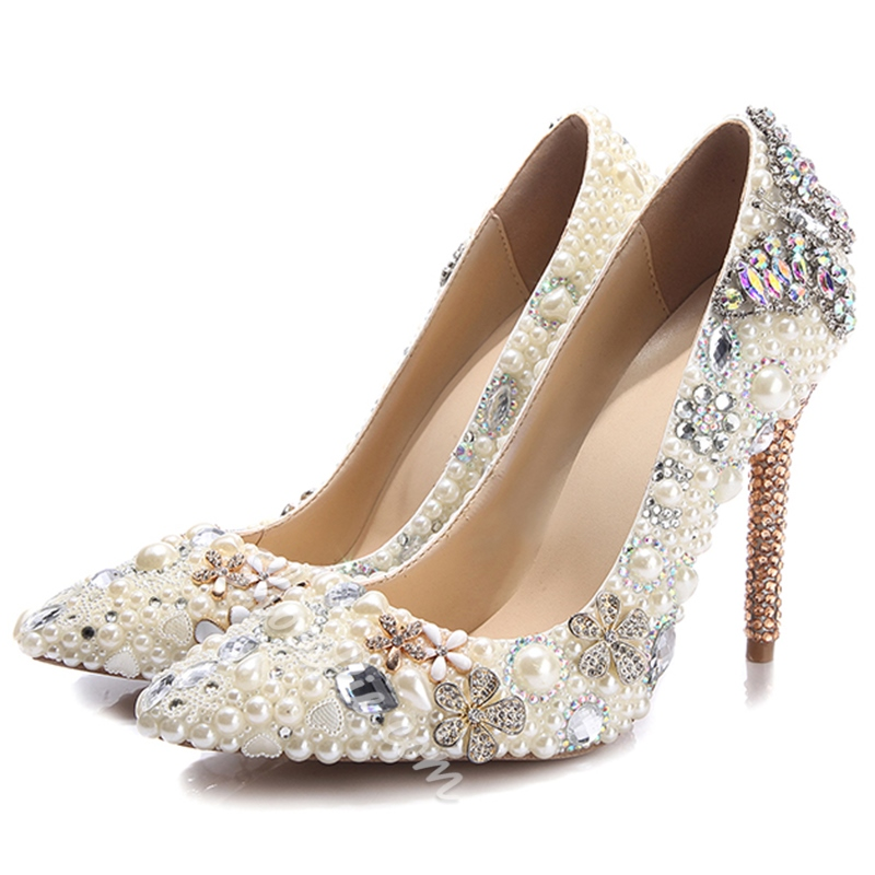 Shoespie Beige Rhinestone Ultra-High Heel Bridal Shoes
