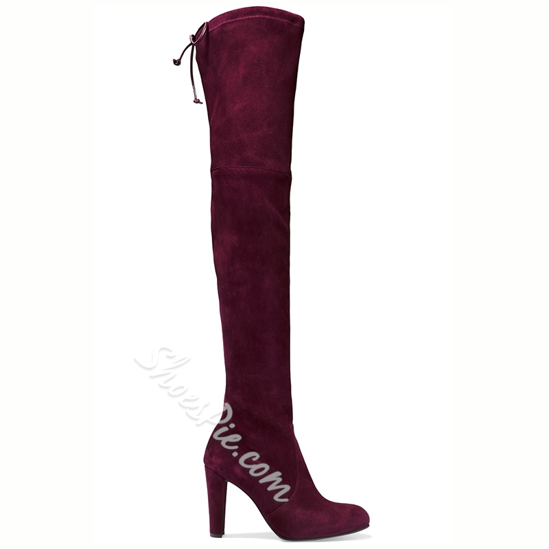 Shoespie Chic Red Stretch Suede Over the Knee Boots