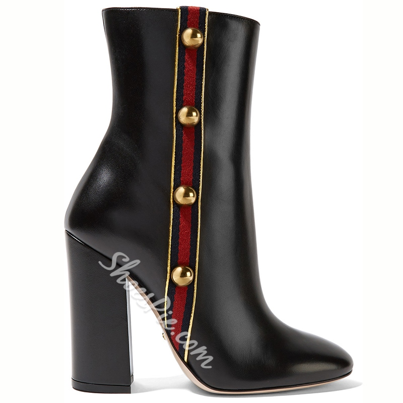 Shoespie Chic Black Stripe & Rivets Appliqued Chunky Heel Fashion Boots