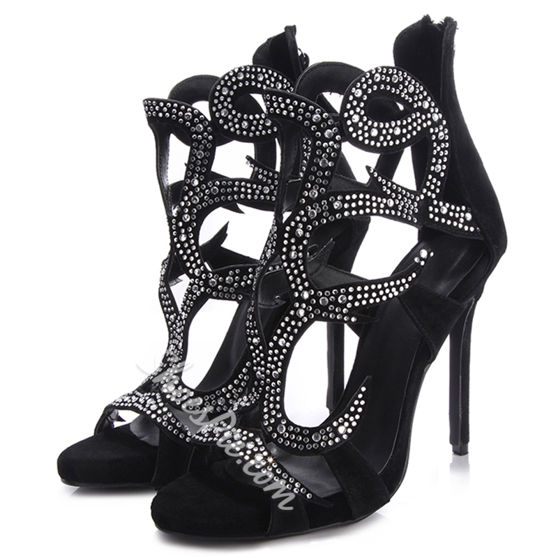 Shoespie Rhinestone Open Toe Stiletto Heel Sandals