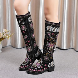 Shoespie Black Exotic Style Floral Embroidered Buckle Flat Boots