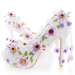 Shoespie Dreaming Daisy Appliqued Peep Toe Bridal Shoes
