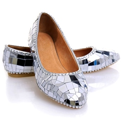 Shoespie Sliver Glossy Paillette Flat Bridal Shoes