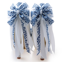 Shoespie Porcelain Print Knot Platform Bridal Shoes