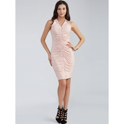 Plain V-Neck Pleated Bodycon Dress
