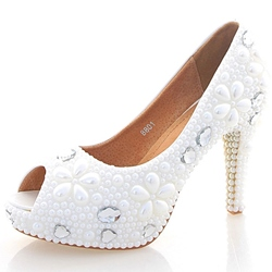 Shoespie Pure White Bead Peep Toe Bridal Shoes
