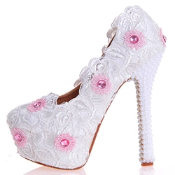 Shoespie Dreaming White Floral Lace Inset Platform Bridal Shoes