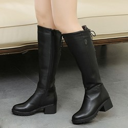 Shoespie Warm Black Block Heel Knee High Buckle Boots