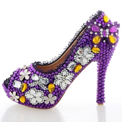 Shoespie Purple Rhinestone Peep Toe Bridal Shoes