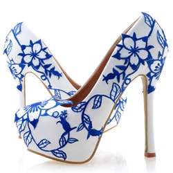 Shoespie Blue and White Porcelain Print Platform Bridal Shoes
