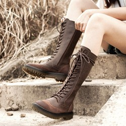 Shoespie Retro Brush Off Lace Up & Side Zipper Hiking Boots