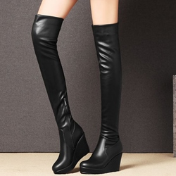 Shoespie Chic Black Wedge Heel Over the Knee Boots