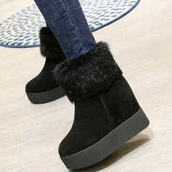 Shoespie All Black Furry Snow Boots