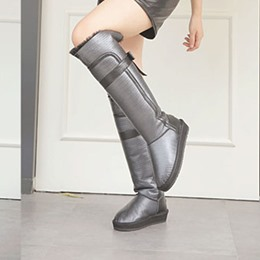 Shoespie Chic Waterproof Back Bow Shearling Knee High Snow Boots