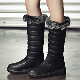 Shoespie Solid Color Round Toe Furry Snow Boots