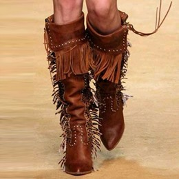 Shoespie Wild Street Savvy Style Fringe Knee High Cowgirl Boots