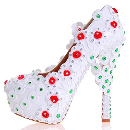 Shoespie White Floral Appliqued Platform Bridal Shoes