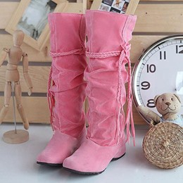 Shoespie Solid Color Braid Tassel Flat Knee High Boots