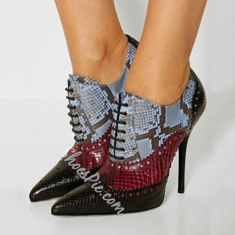 Shoespie Chic Fashion Contrast Color Pointed Toe Stiletto Booties