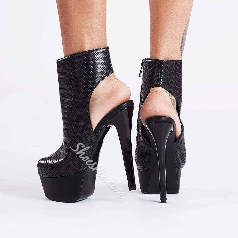 Awesome Stiletto Heels Peep-toe Ankle Boots