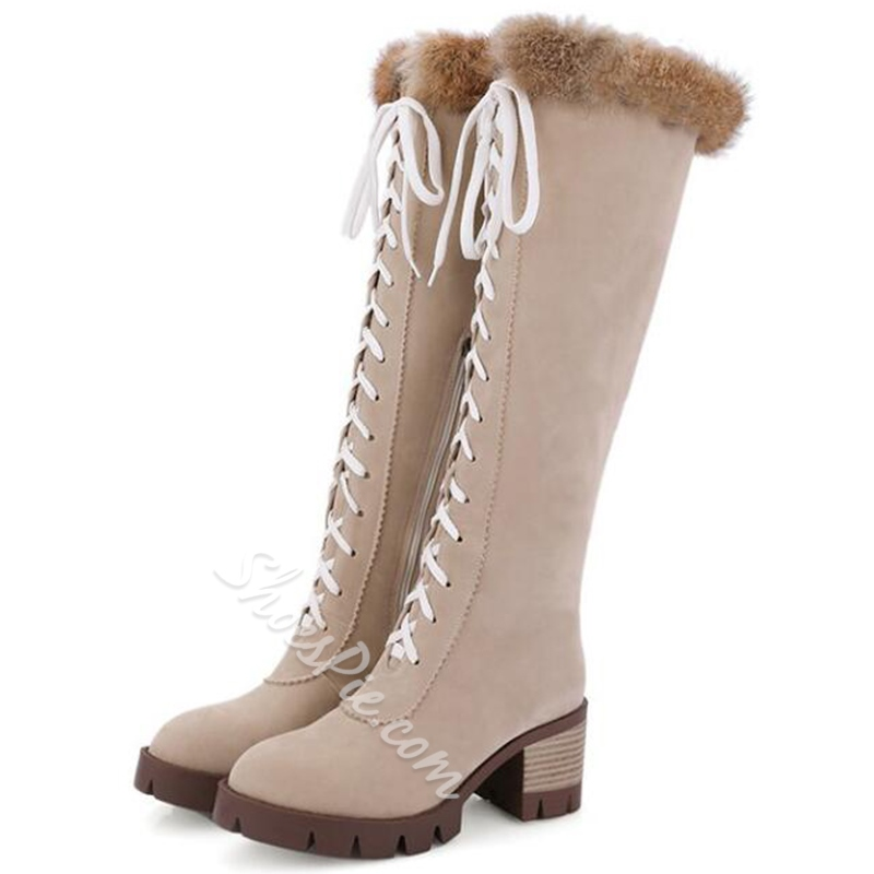 Shoespie Nubuck Lace Up Combat Knee High Snow Boots
