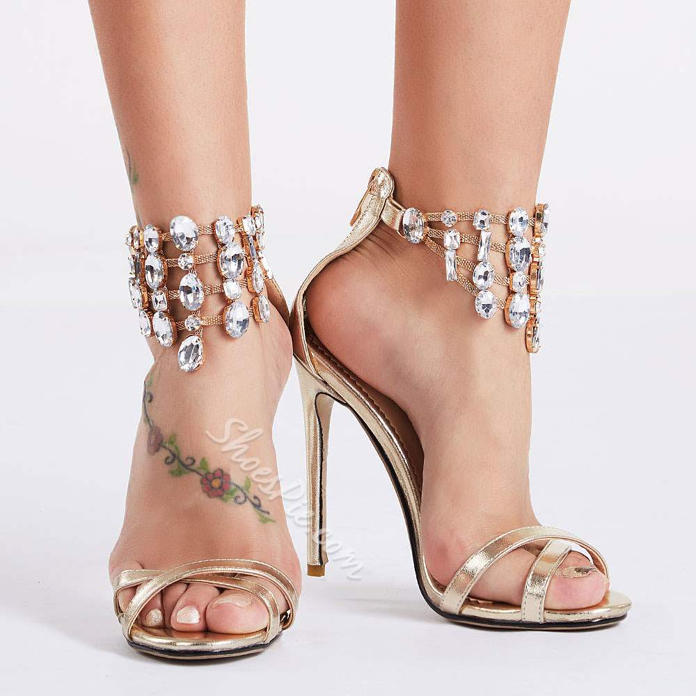 Shoespie Golden Color Huge Rhinestone Ankle Wrap Dress Sandals