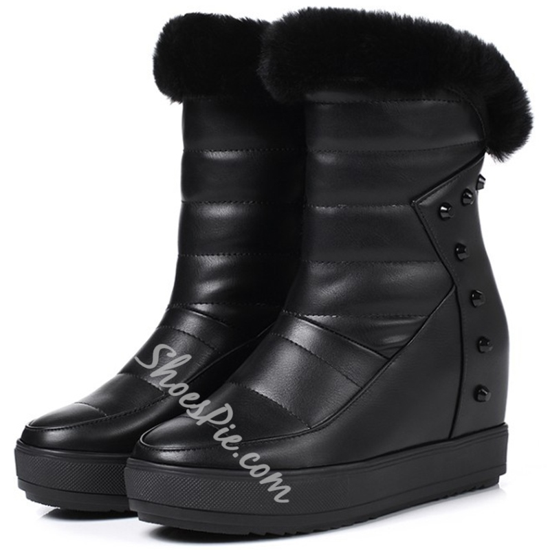 Shoespie Elegant Shearling Snow Boots