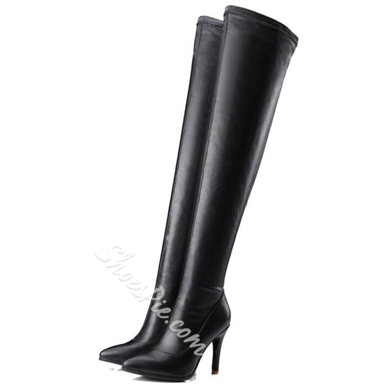 Shoespie Chic Black Stretch Slim Over the Knee Boots