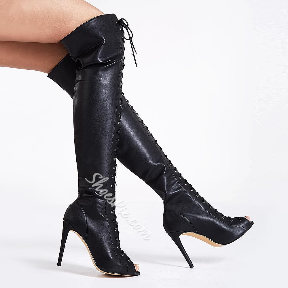 Absorbing Lace-up Peep-toe Knee High Boots