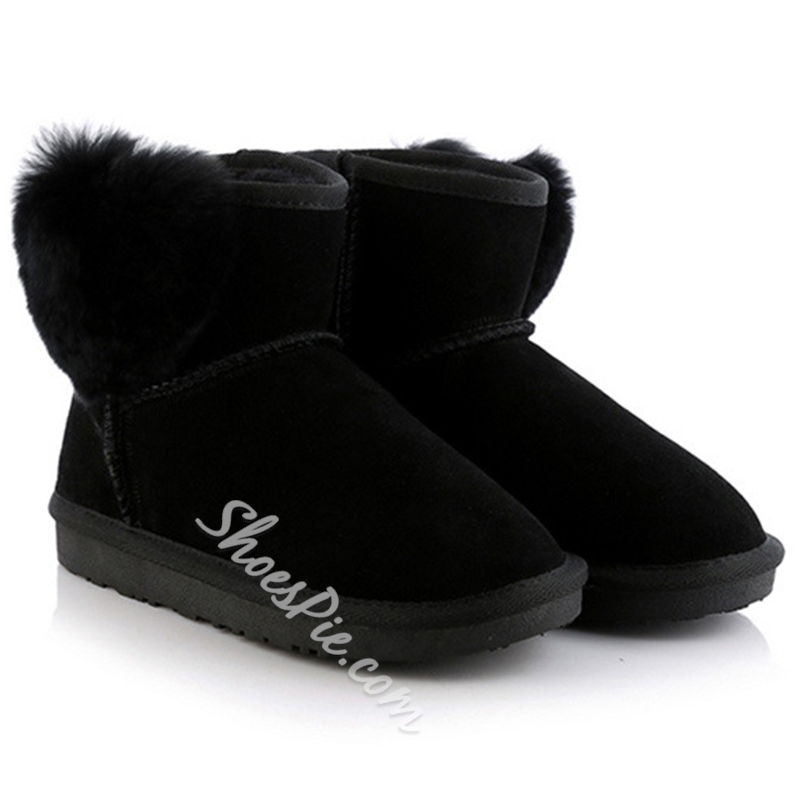 Shoespie Solid Color Furry Heart Appliqued Snow Boots