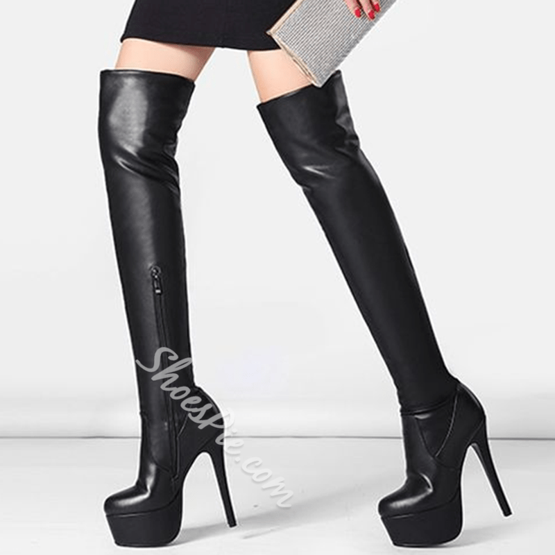 Shoespie Chic Black Platform Sky High Over the Knee Boots