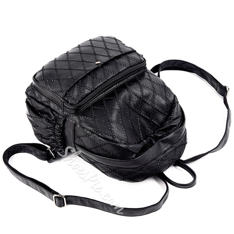 Shoespie Solid Color Plaid Backpack