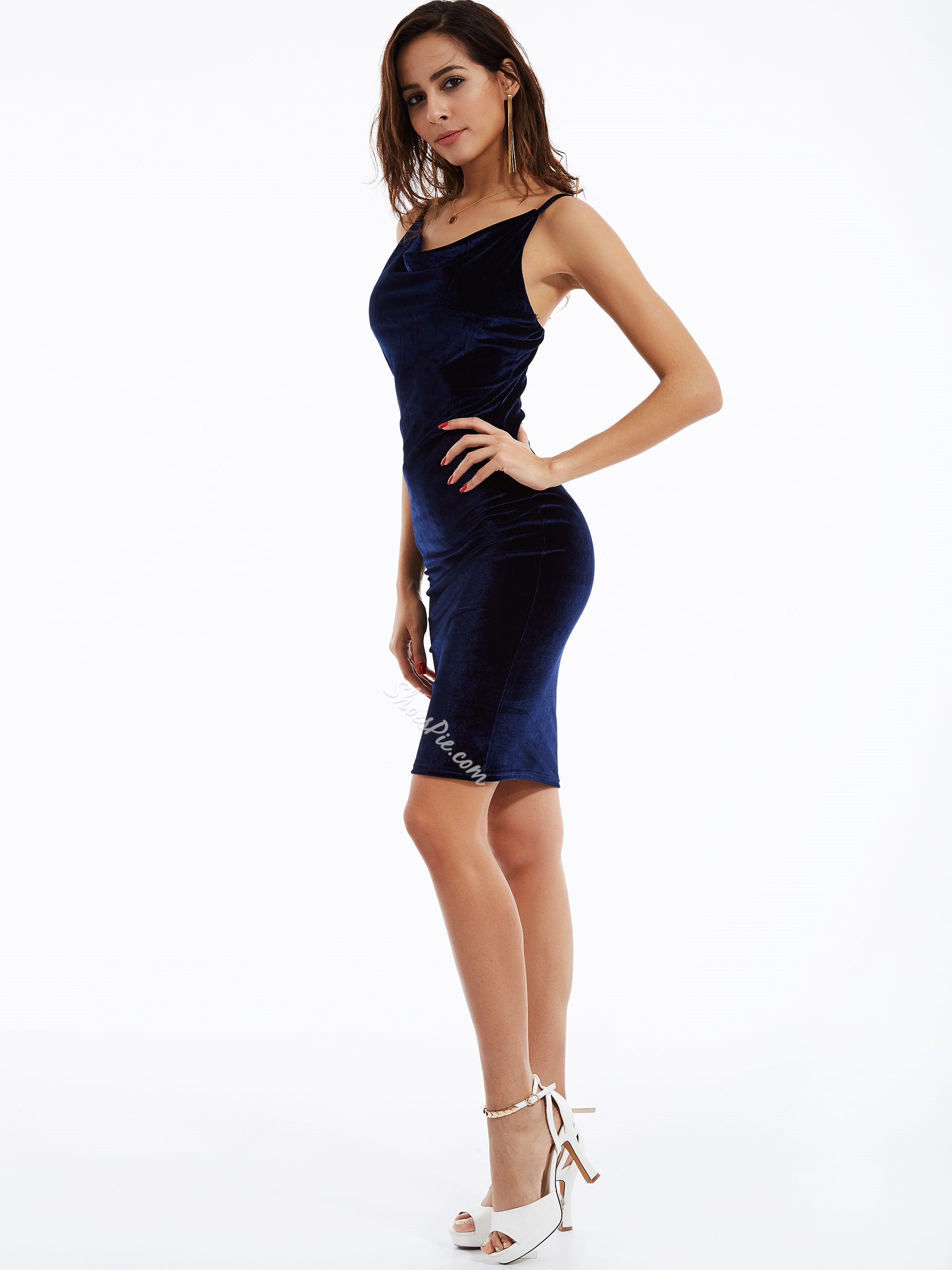 Plain V-Neck Sleeveless Bodycon Dress