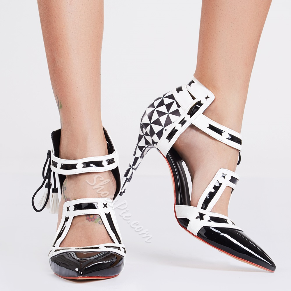 Shoespie Black Geometric Print Stiletto Heels