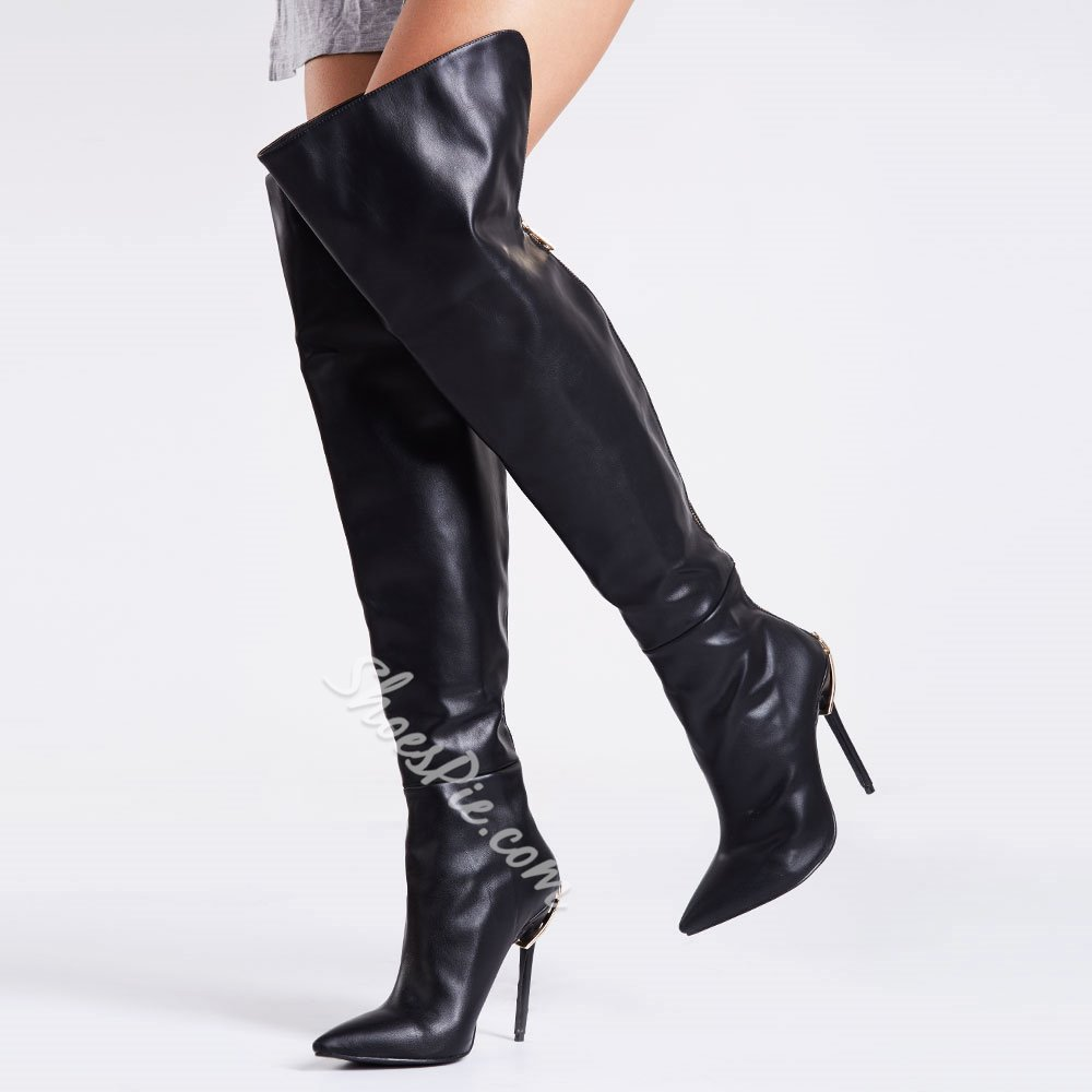 Shoespie Black Back Zipper Knee High Boots