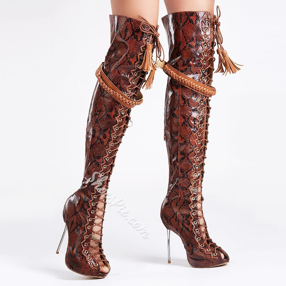 Shoespie Cutout Lace Up Knee High Boots