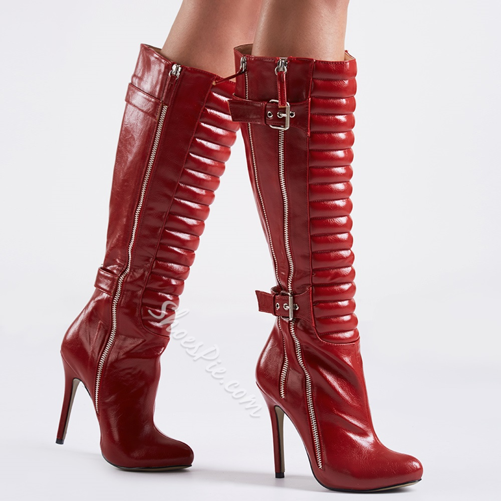 Shoespie Burgundy Zippers Knee High Boots