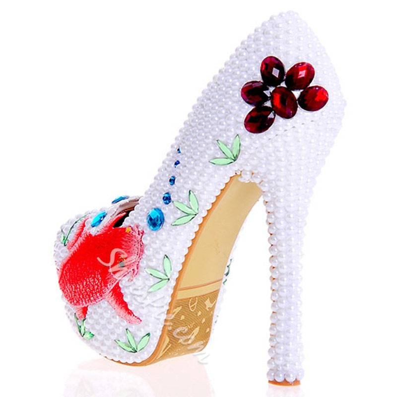 Shoespie Chinese Painting Print Platform Bridal Shoes